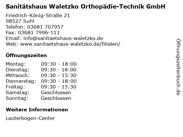 Sanitätshaus Waletzko Orthopädie-Technik GmbH in Suhl: Adresse und Öffnungszeiten