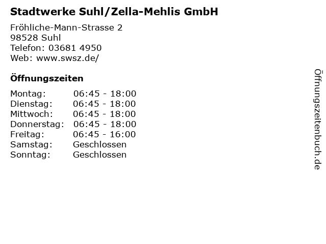 Stadtwerke Suhl/Zella-Mehlis GmbH in Suhl: Adresse und Öffnungszeiten
