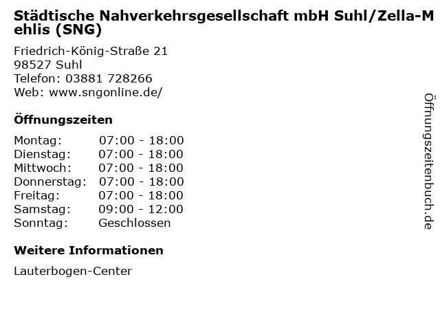 Städtische Nahverkehrsgesellschaft mbH Suhl/Zella-Mehlis (SNG) in Suhl: Adresse und Öffnungszeiten