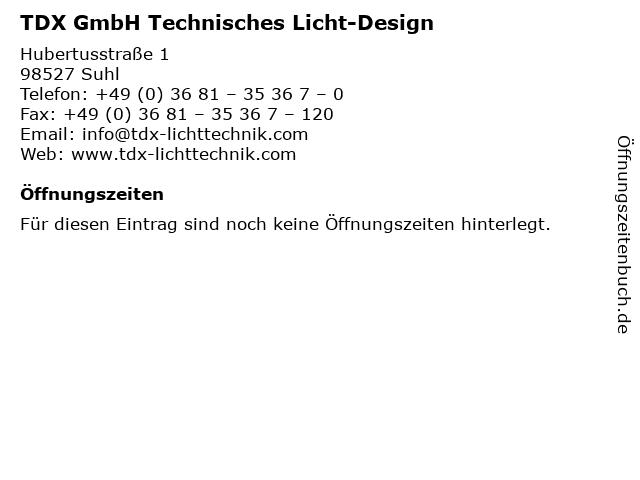 TDX GmbH Technisches Licht-Design in Suhl: Adresse und Öffnungszeiten
