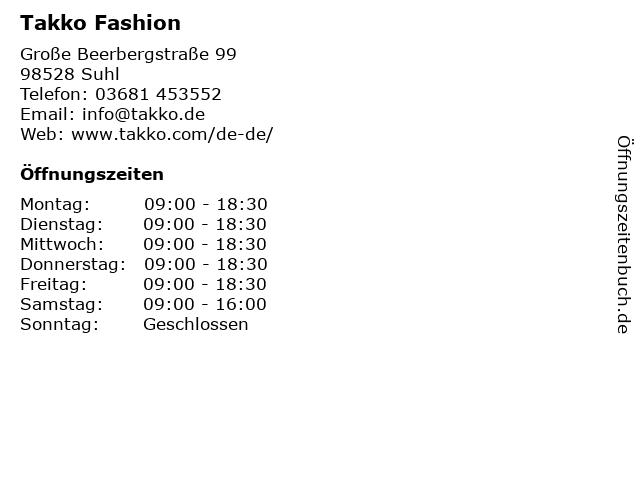 Takko Fashion in Suhl: Adresse und Öffnungszeiten