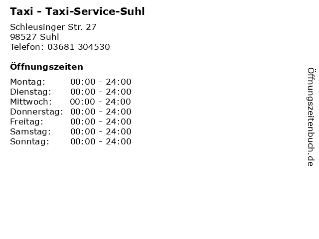 Taxi - Taxi-Service-Suhl in Suhl: Adresse und Öffnungszeiten