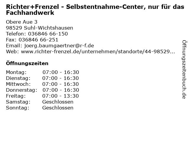 Richter+Frenzel - Selbstentnahme-Center, nur für das Fachhandwerk in Suhl-Wichtshausen: Adresse und Öffnungszeiten