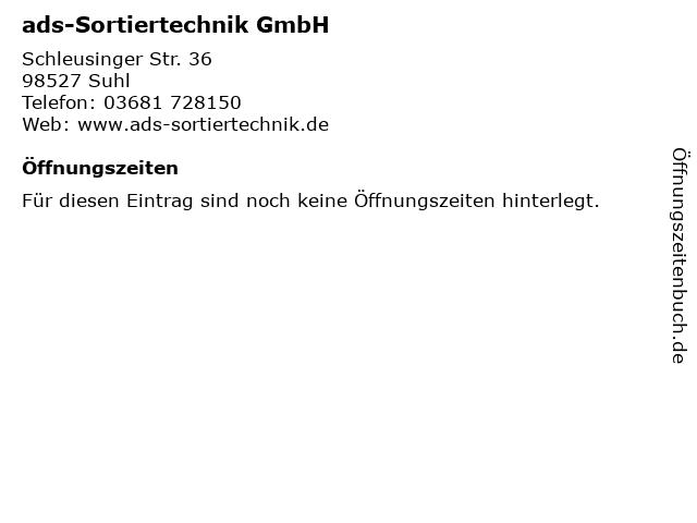 ads-Sortiertechnik GmbH in Suhl: Adresse und Öffnungszeiten