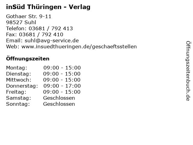 inSüd Thüringen - Verlag in Suhl: Adresse und Öffnungszeiten