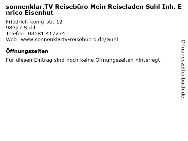 sonnenklar.TV Reisebüro in Suhl: Adresse und Öffnungszeiten
