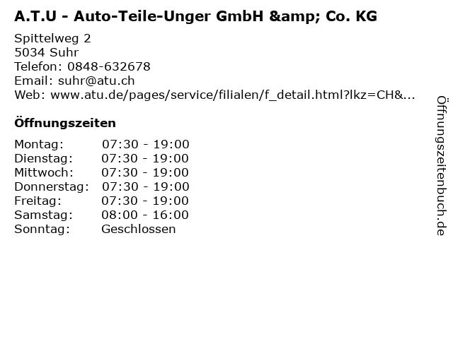A.T.U - Auto-Teile-Unger GmbH & Co. KG in Suhr: Adresse und Öffnungszeiten
