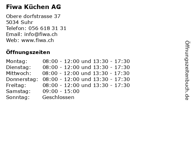 Fiwa Küchen AG in Suhr: Adresse und Öffnungszeiten