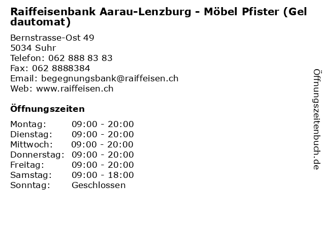 ᐅ öffnungszeiten Raiffeisenbank Aarau Lenzburg Möbel Pfister
