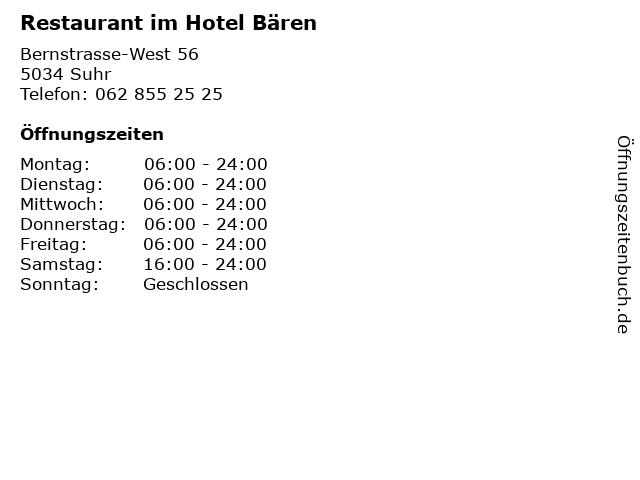 Restaurant im Hotel Bären in Suhr: Adresse und Öffnungszeiten
