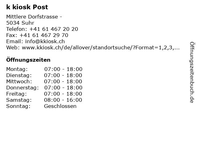 k kiosk Post in Suhr: Adresse und Öffnungszeiten