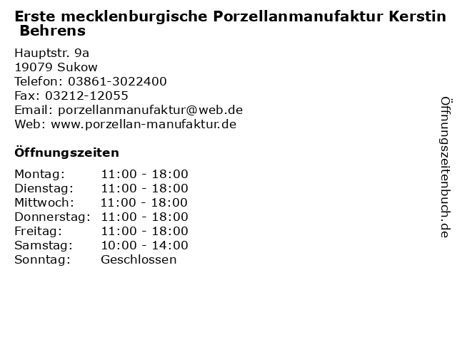 Erste mecklenburgische Porzellanmanufaktur Kerstin Behrens in Sukow: Adresse und Öffnungszeiten
