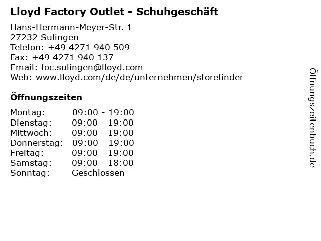 """size 40 d0484 fa141 ᐅ Öffnungszeiten """"Lloyd Factory Outlet - Schuhgeschäft ..."""