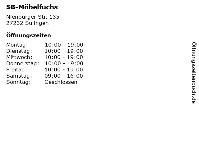 ᐅ öffnungszeiten Sb Möbelfuchs Nienburger Str 135 In Sulingen