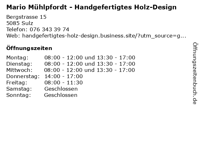 Mario Mühlpfordt - Handgefertigtes Holz-Design in Sulz: Adresse und Öffnungszeiten