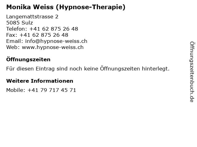 Monika Weiss (Hypnose-Therapie) in Sulz: Adresse und Öffnungszeiten