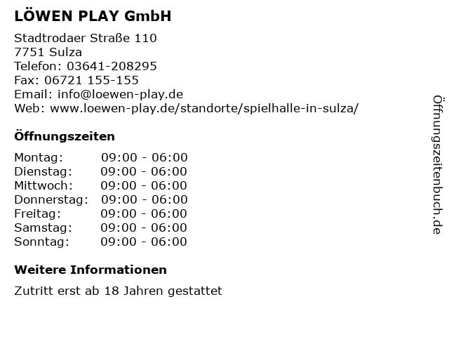 LÖWEN PLAY GmbH in Sulza: Adresse und Öffnungszeiten