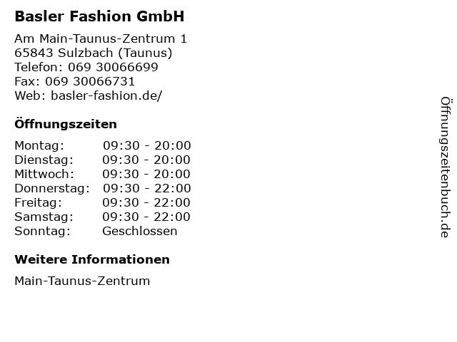 Basler Fashion GmbH in Sulzbach (Taunus): Adresse und Öffnungszeiten