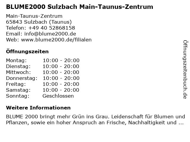 Blume 2000 Sulzbach Main-Taunus-Zentrum in Sulzbach (Taunus): Adresse und Öffnungszeiten