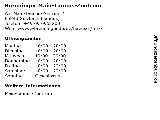 Breuninger Main-Taunus-Zentrum in Sulzbach (Taunus): Adresse und Öffnungszeiten