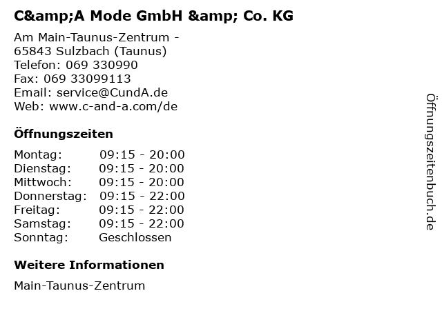 C&A Mode GmbH & Co. KG in Sulzbach (Taunus): Adresse und Öffnungszeiten
