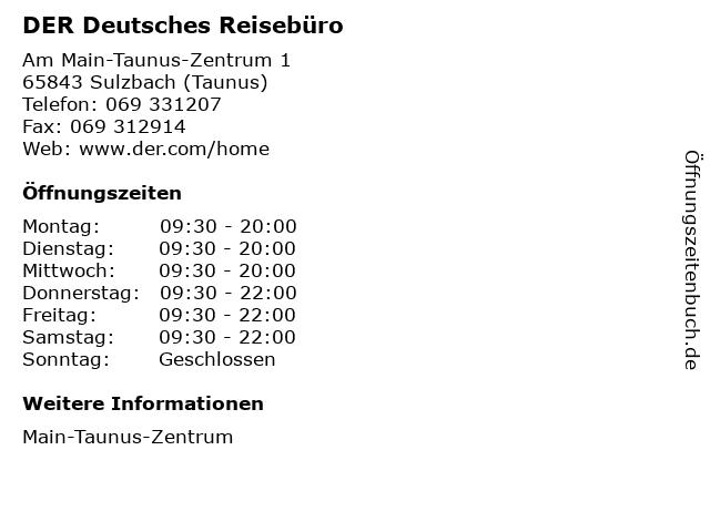 DER Deutsches Reisebüro in Sulzbach (Taunus): Adresse und Öffnungszeiten