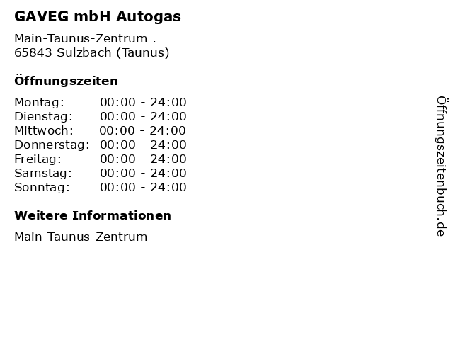 GAVEG mbH Autogas in Sulzbach (Taunus): Adresse und Öffnungszeiten