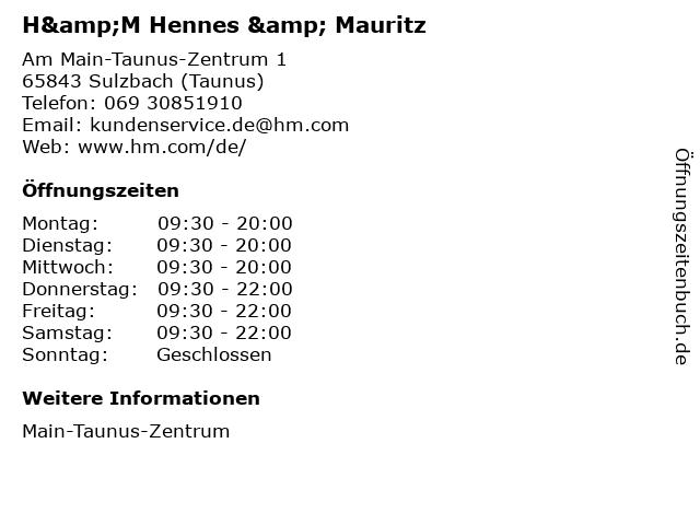 H&M Hennes & Mauritz in Sulzbach (Taunus): Adresse und Öffnungszeiten