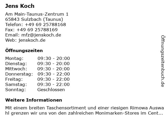 Jens Koch in Sulzbach (Taunus): Adresse und Öffnungszeiten
