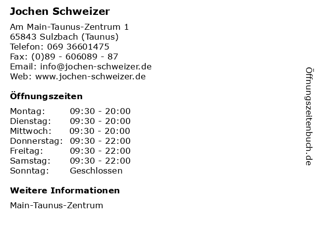 Jochen Schweizer in Sulzbach (Taunus): Adresse und Öffnungszeiten