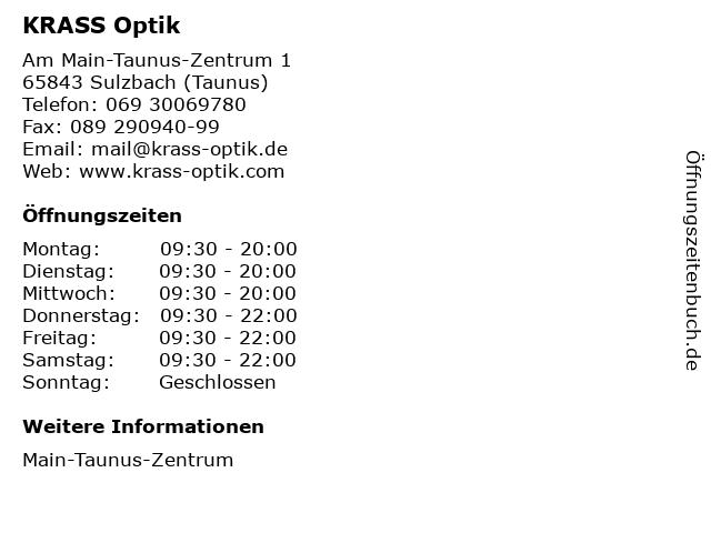KRASS Optik in Sulzbach (Taunus): Adresse und Öffnungszeiten