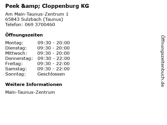 Peek & Cloppenburg KG in Sulzbach (Taunus): Adresse und Öffnungszeiten