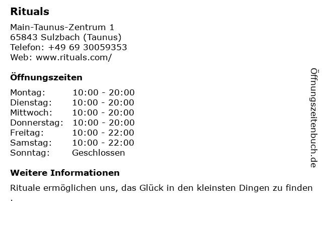 Rituals Cosmetics Germany GmbH in Sulzbach (Taunus): Adresse und Öffnungszeiten