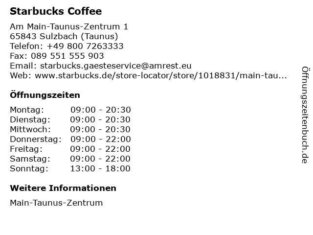 Starbucks Coffee in Sulzbach (Taunus): Adresse und Öffnungszeiten
