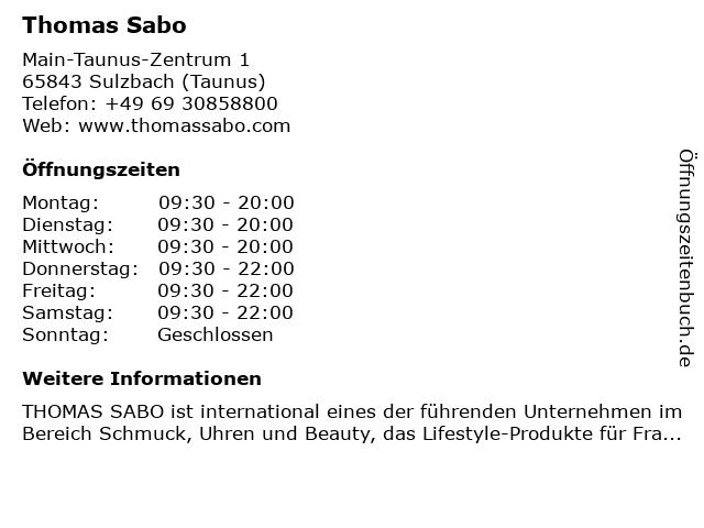 Thomas Sabo in Sulzbach (Taunus): Adresse und Öffnungszeiten