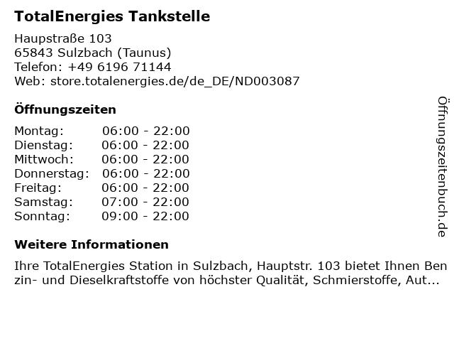 TOTAL Tankstelle in Sulzbach (Taunus): Adresse und Öffnungszeiten