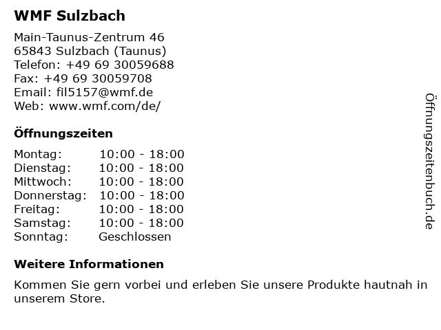 WMF in Sulzbach (Taunus): Adresse und Öffnungszeiten