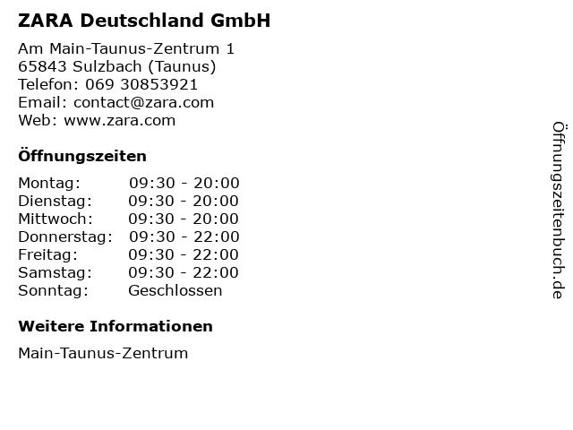 ZARA Deutschland GmbH in Sulzbach (Taunus): Adresse und Öffnungszeiten