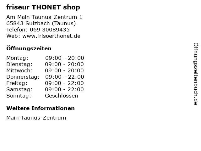 friseur THONET shop in Sulzbach (Taunus): Adresse und Öffnungszeiten