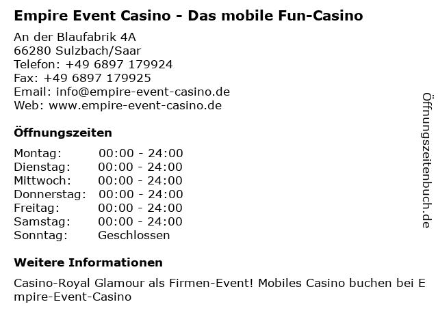 ᐅ öffnungszeiten Empire Event Casino Das Mobile Fun Casino An