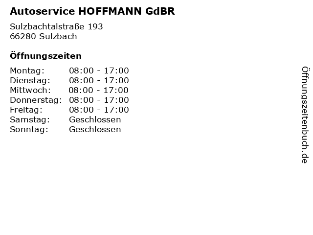 Autoservice HOFFMANN GdBR in Sulzbach: Adresse und Öffnungszeiten