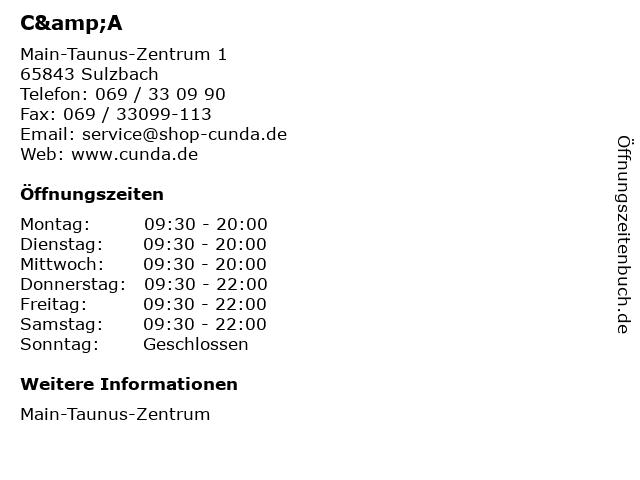 C&A in Sulzbach: Adresse und Öffnungszeiten