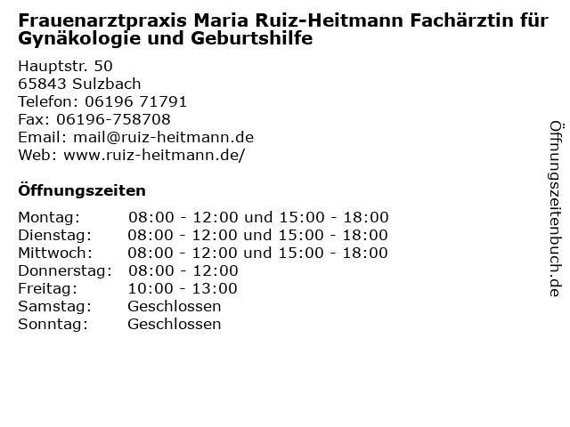 Frauenarztpraxis Maria Ruiz-Heitmann Fachärztin für Gynäkologie und Geburtshilfe in Sulzbach: Adresse und Öffnungszeiten