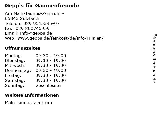 Gepp's für Gaumenfreunde in Sulzbach: Adresse und Öffnungszeiten