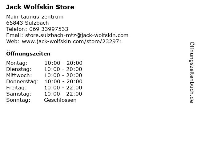 Jack Wolfskin Store in Sulzbach (Taunus): Adresse und Öffnungszeiten