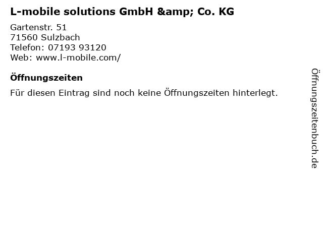 L-mobile solutions GmbH & Co. KG in Sulzbach: Adresse und Öffnungszeiten