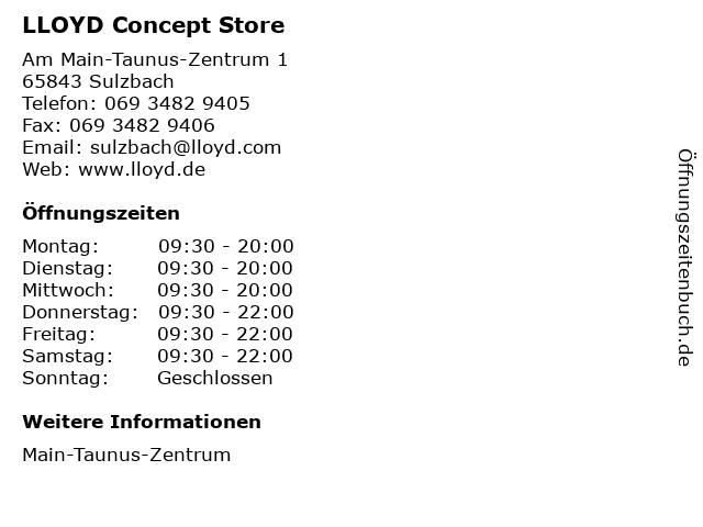 LLOYD Concept Store in Sulzbach: Adresse und Öffnungszeiten