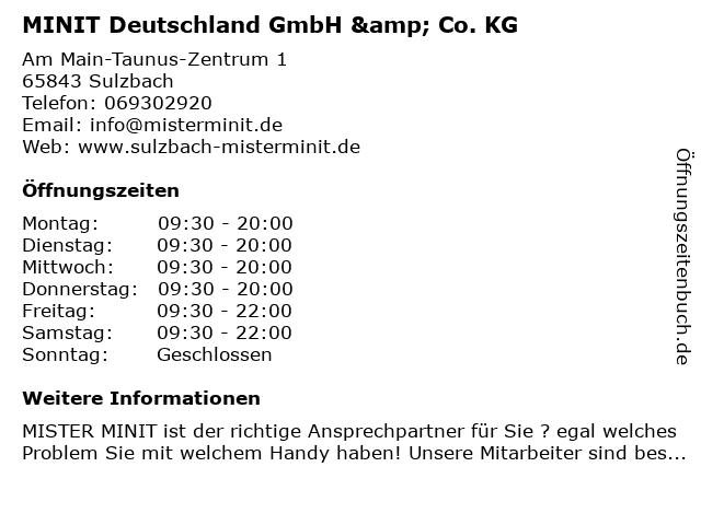 MINIT Deutschland GmbH & Co. KG in Sulzbach: Adresse und Öffnungszeiten