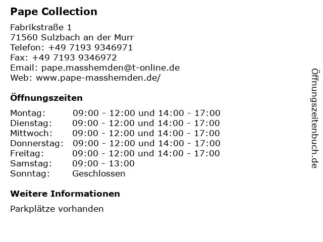 Masshemden Pape Collection in Sulzbach: Adresse und Öffnungszeiten