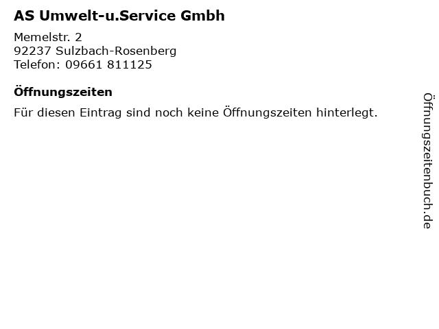 AS Umwelt-u.Service Gmbh in Sulzbach-Rosenberg: Adresse und Öffnungszeiten